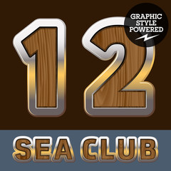 Elite old styled font in sea club theme. Numbers 1 2
