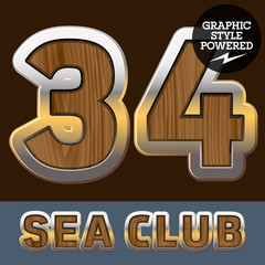 Elite old styled font in sea club theme. Numbers 3 4