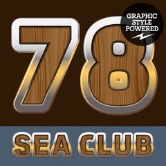 Elite old styled font in sea club theme. Numbers 7 8