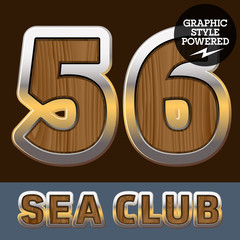 Elite old styled font in sea club theme. Numbers 5 6