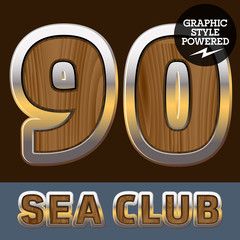 Elite old styled font in sea club theme. Numbers 9 0