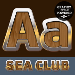 Elite old styled font in sea club theme. Letter A