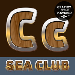 Elite old styled font in sea club theme. Letter C