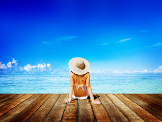 Woman Sunbathe Sunny Summer Beach Relaxing Concept
