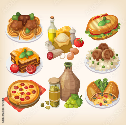 Italian food and meals.