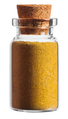 Curry spice in a little bottle isolated on white background