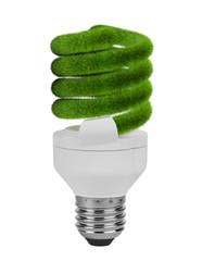 Energy saving light bulb lamp with green grass spiral