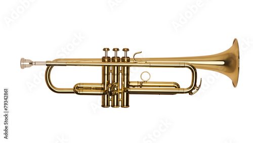 Staande foto Muziekwinkel golden brass trumpet in soft light isolated on white background