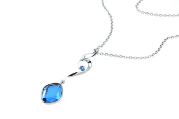 bright blue pendant isolated on white background