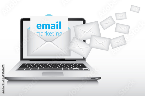 Email marketing and many envelopes in laptop screen - 79344605