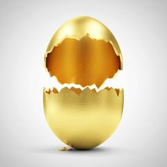 Easter Concept. Empty Broken Big Golden Egg on gradient
