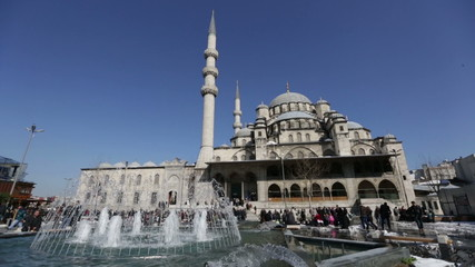 crowd visiting Yeni Cami Mosque at Istanbul Turkey