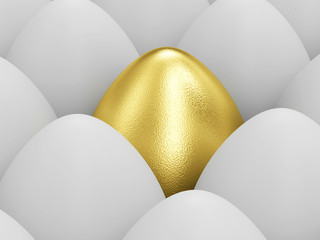 Easter Concept. Golden Easter Egg standing out from the others