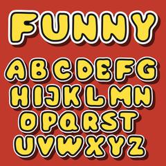 vector english alphabet in cartoon style