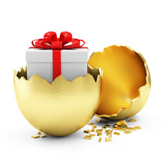 Big Broken Golden Egg with Gift Box Inside isolated on white