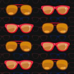 seamless pattern. sunglasses on black background.