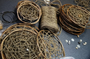 Photo of Dreamcatchers in the process of their creation