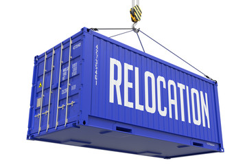 Relocation - Blue Hanging Cargo Container.
