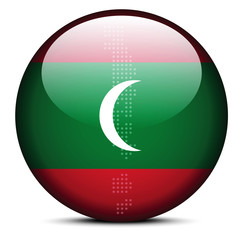 Map with Dot Pattern on flag button of Maldives