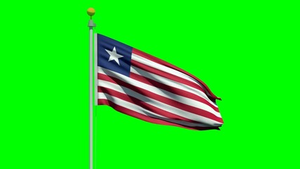 Flag of Liberia waving in the wind on a green screen.