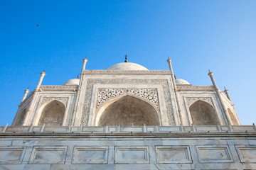 The close view of Taj Mahal monument in the morning