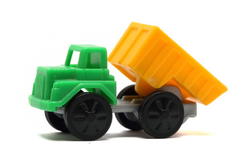 colorful toy truck on a white background close up