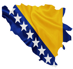 Bosnia and Herzegovina - Flag on map contour with silk texture
