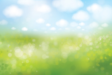 Vector spring  bokeh background, green field and blue sky.