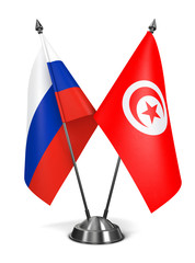Russia and Tunisia - Miniature Flags.