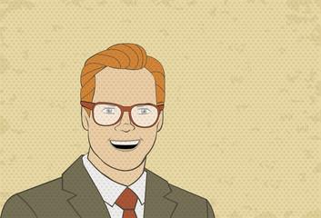 Retro man wearing glasses. Vintage art.