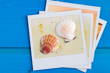 Polaroid Frame and Seashell on Blue Wooden Background