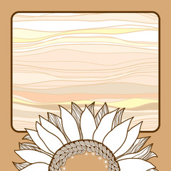 Vintage card with beige sunflower for your design
