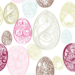 Easter seamless pattern with eggs from swirls