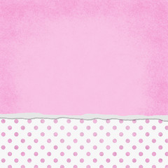 Square Pink and White Polka Dot Torn Grunge Textured Background