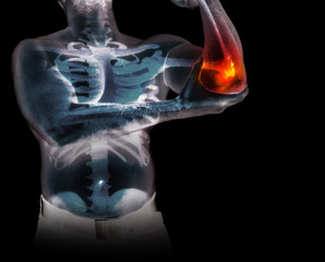 Human skeleton under the x-rays isolated on black background