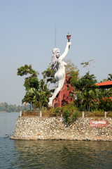 Statue on the garden of a house near Kollam