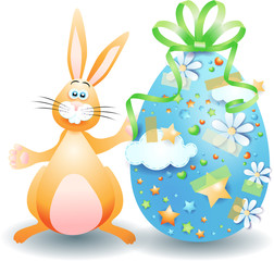 Easter bunny and Easter egg isolated on white