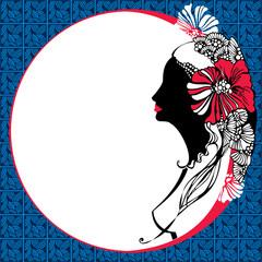 Beautiful woman silhouette on a mosaic background