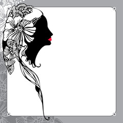 Vintage lady silhouette on a floral background