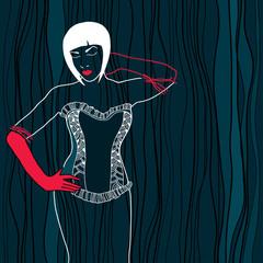 Beautiful lady in black lace corset