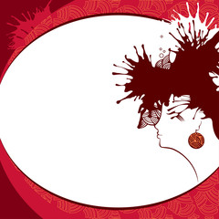 Woman silhouette on a red background