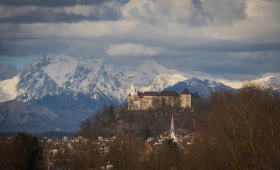 Ljubljana castle with the alps in the background, Slovenia