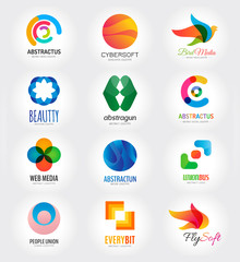 Abstract vector logo template set for branding and flat design