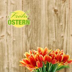 frohe ostern label und tulpenstrauß