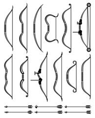 Bow and arrow set. Vector