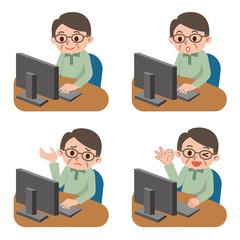 パソコン操作 シニア男性 セット