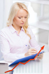 businesswoman writing to clipboard in office