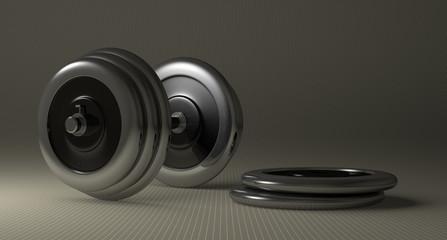 Adjustable metallic dumbbell