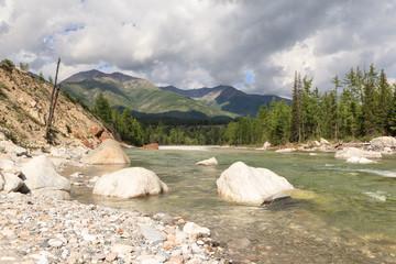 The mountain river Irkut in East Sayan mountains.