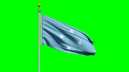 Waving Flag Federated States of Micronesia on green screen